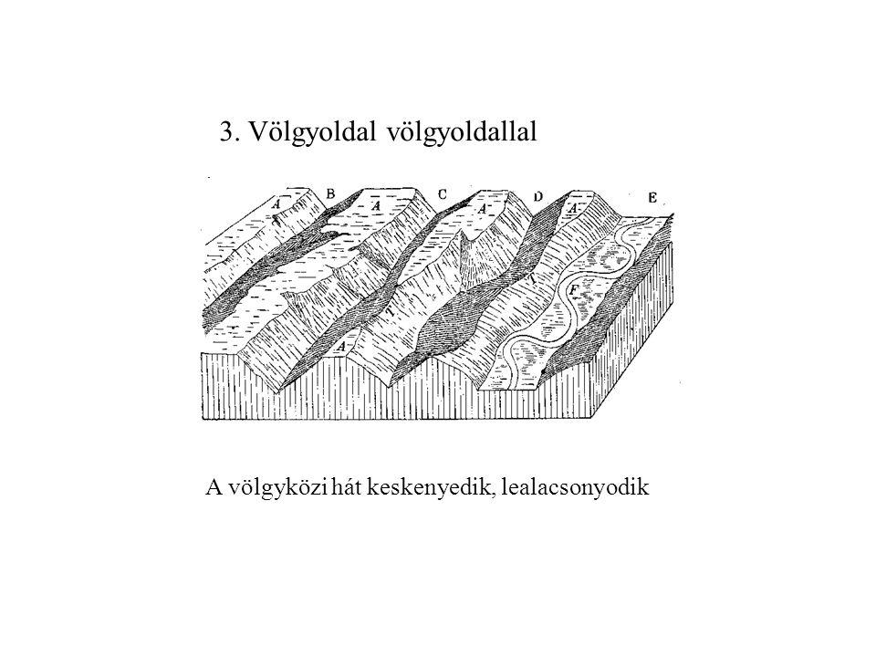 folyólefejezés (kaptura) 2.Völgyfő völgyoldallal: bifurkáció 1.