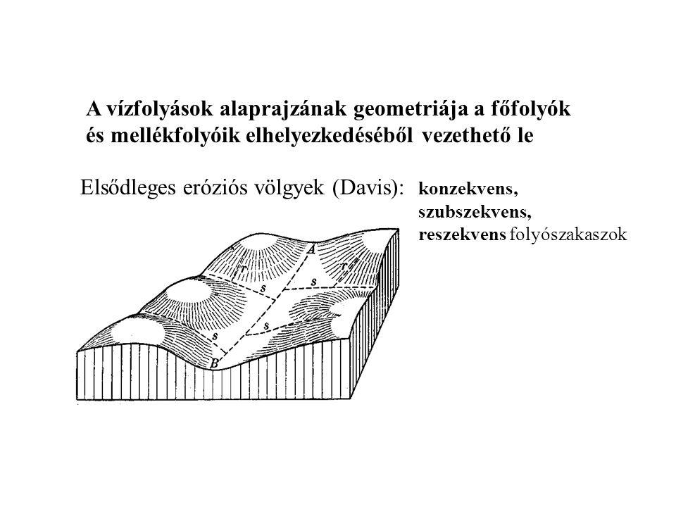 A VÖLGYEK ÉS A VÖLGYHÁLÓZAT TÍPUSAI A völgy eredetét tekintve lehet a belső (A), vagy lehet a külső erők (B) működésének eredménye A.