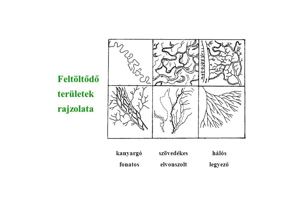 Alkalmazkodás a földtani felépítéshez gyűrűs karéjos lugasos visszakanyarodó vetődéses hasadékos-lugasos szögletes derékszögű elcsavart részaránytalan I részaránytalan II
