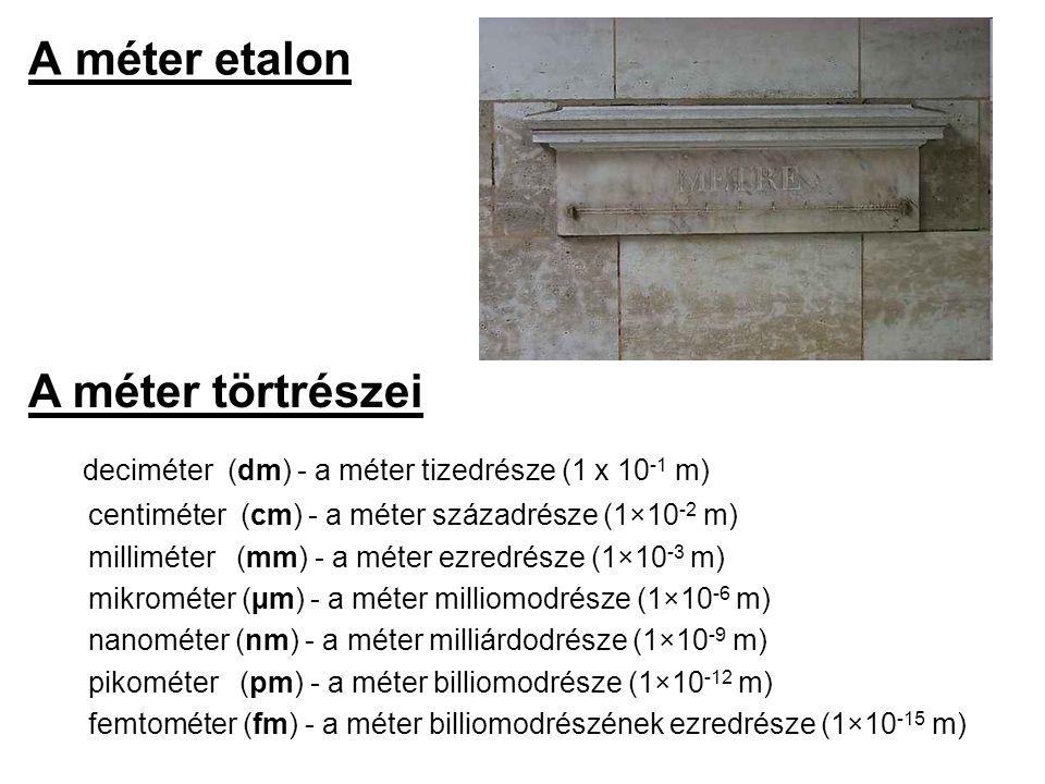 A méter etalon deciméter (dm) - a méter tizedrésze (1 x 10 -1 m) centiméter (cm) - a méter századrésze (1×10 -2 m) milliméter (mm) - a méter ezredrész