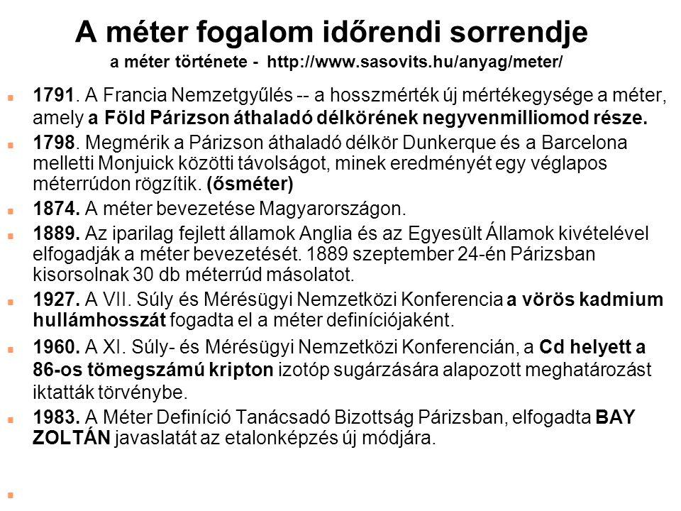 A méter fogalom időrendi sorrendje a méter története - http://www.sasovits.hu/anyag/meter/ n 1791. A Francia Nemzetgyűlés -- a hosszmérték új mértékeg