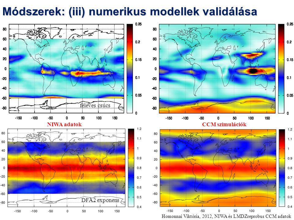 Homonnai Viktória, 2012, NIWA és LMDZreprobus CCM adatok NIWA adatok CCM szimulációk féléves csúcs DFA2 exponens Módszerek: (iii) numerikus modellek validálása