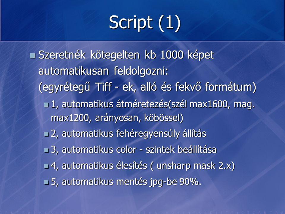 Script (1) Szeretnék kötegelten kb 1000 képet automatikusan feldolgozni: (egyrétegű Tiff - ek, alló és fekvő formátum) Szeretnék kötegelten kb 1000 ké