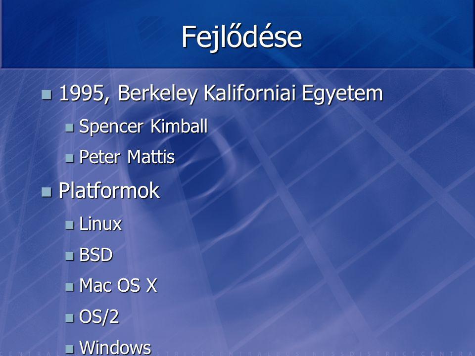 Fejlődése 1995, Berkeley Kaliforniai Egyetem 1995, Berkeley Kaliforniai Egyetem Spencer Kimball Spencer Kimball Peter Mattis Peter Mattis Platformok P