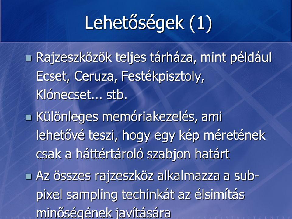 Lehetőségek (1) Rajzeszközök teljes tárháza, mint például Ecset, Ceruza, Festékpisztoly, Klónecset... stb. Rajzeszközök teljes tárháza, mint például E
