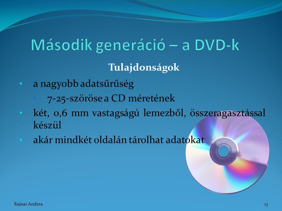 a nagyobb adatsűrűség 7-25-szöröse a CD méretének két, 0,6 mm vastagságú lemezből, összeragasztással készül akár mindkét oldalán tárolhat adatokat Tul