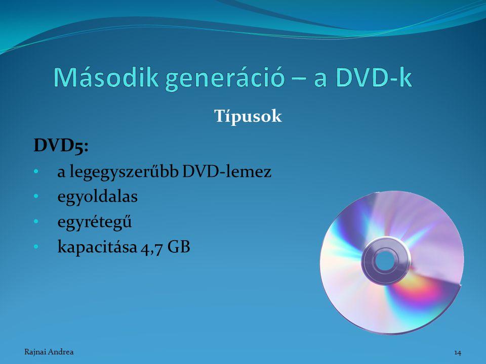 DVD5: a legegyszerűbb DVD-lemez egyoldalas egyrétegű kapacitása 4,7 GB Típusok 14Rajnai Andrea