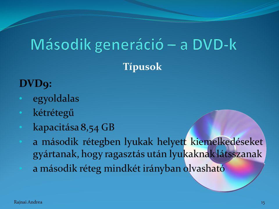 DVD9: egyoldalas kétrétegű kapacitása 8,54 GB a második rétegben lyukak helyett kiemelkedéseket gyártanak, hogy ragasztás után lyukaknak látsszanak a