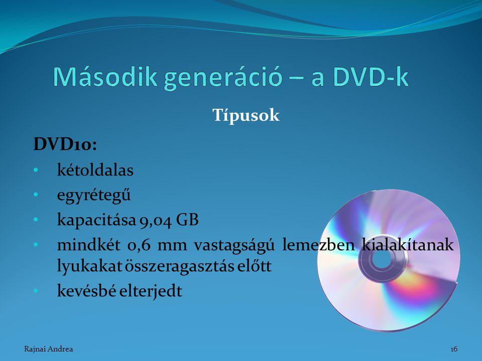 DVD10: kétoldalas egyrétegű kapacitása 9,04 GB mindkét 0,6 mm vastagságú lemezben kialakítanak lyukakat összeragasztás előtt kevésbé elterjedt Típusok