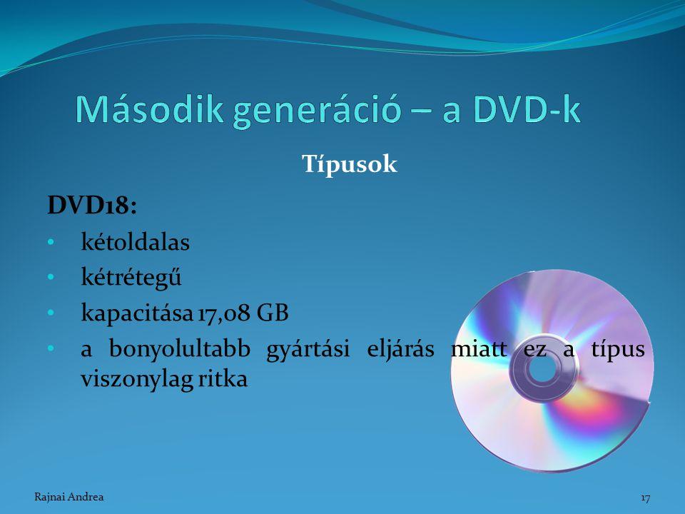 DVD18: kétoldalas kétrétegű kapacitása 17,08 GB a bonyolultabb gyártási eljárás miatt ez a típus viszonylag ritka Típusok 17Rajnai Andrea