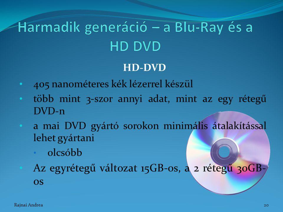 405 nanométeres kék lézerrel készül több mint 3-szor annyi adat, mint az egy rétegű DVD-n a mai DVD gyártó sorokon minimális átalakítással lehet gyárt