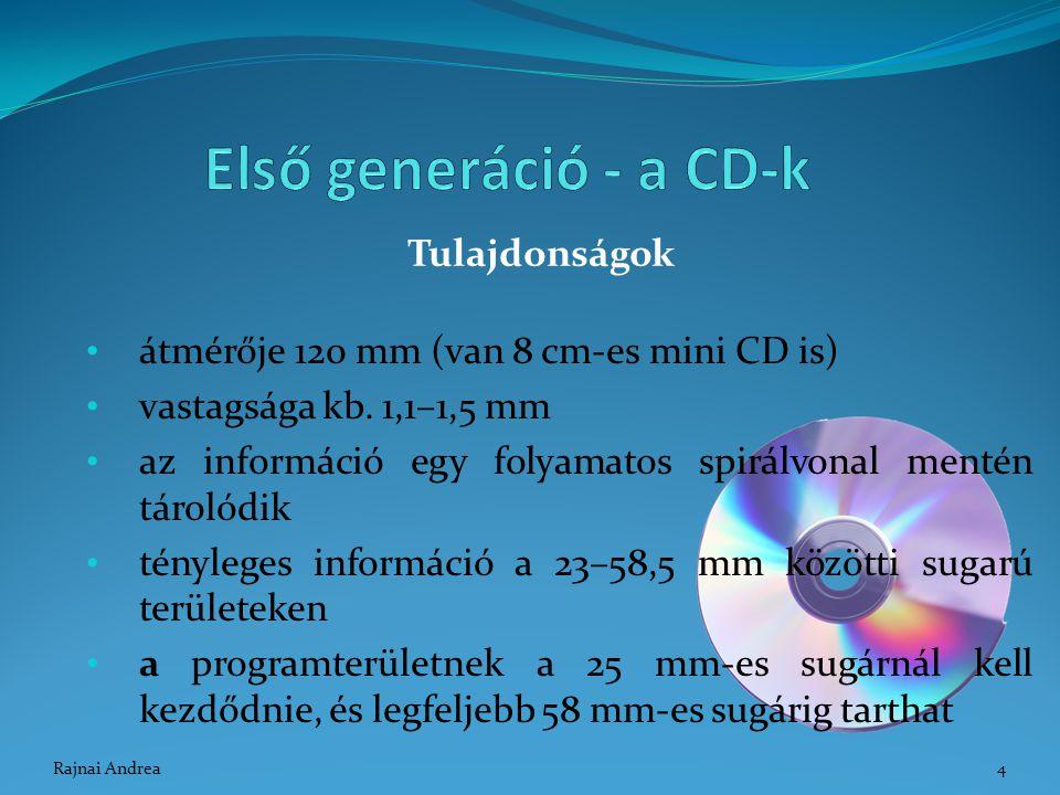Tulajdonságok átmérője 120 mm (van 8 cm-es mini CD is) vastagsága kb. 1,1–1,5 mm az információ egy folyamatos spirálvonal mentén tárolódik tényleges i