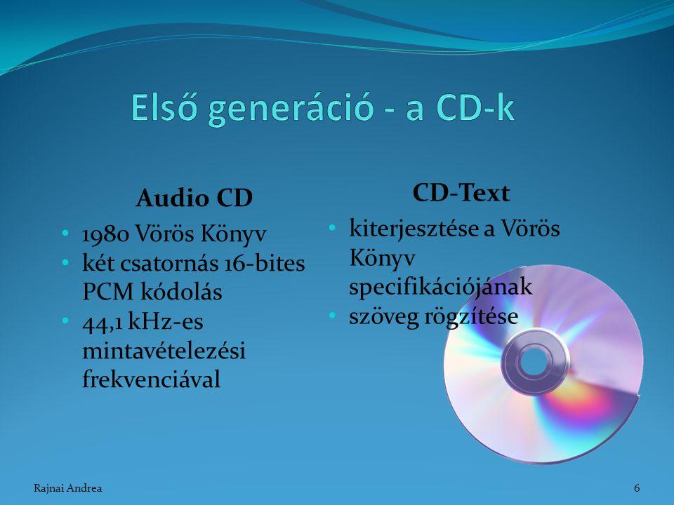 Audio CD 1980 Vörös Könyv két csatornás 16-bites PCM kódolás 44,1 kHz-es mintavételezési frekvenciával CD-Text kiterjesztése a Vörös Könyv specifikáci