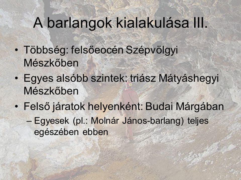 A barlangok kialakulása III.