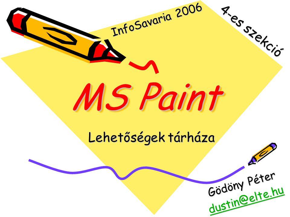 MS Paint Lehetőségek tárháza 4-es szekció Gödöny Péter dustin@elte.hu InfoSavaria 2006