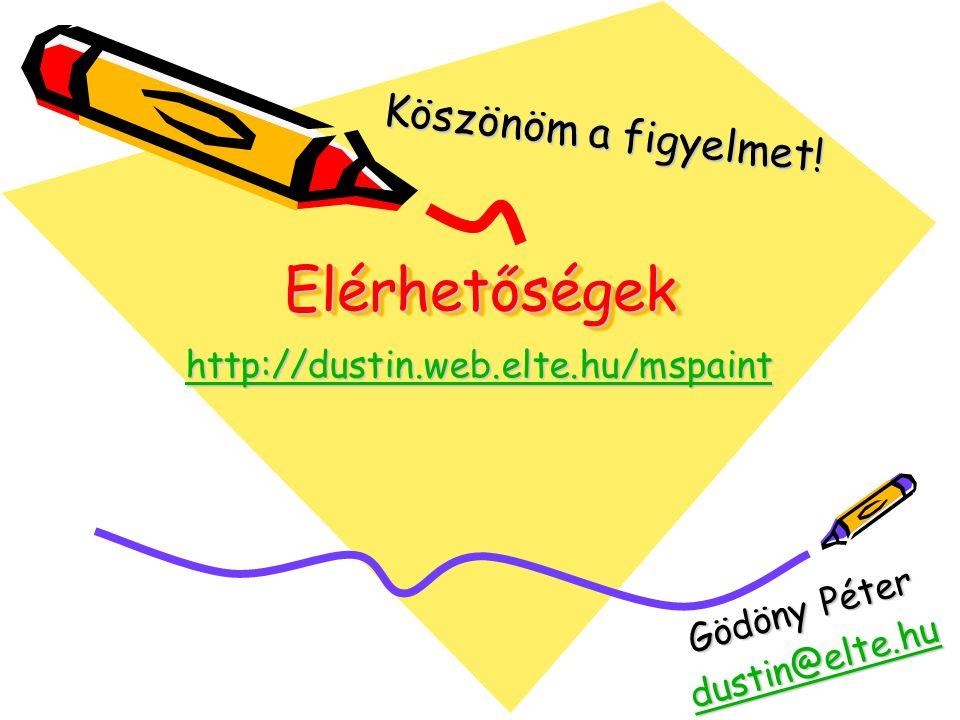ElérhetőségekElérhetőségek http://dustin.web.elte.hu/mspaint Gödöny Péter dustin@elte.hu Köszönöm a figyelmet!