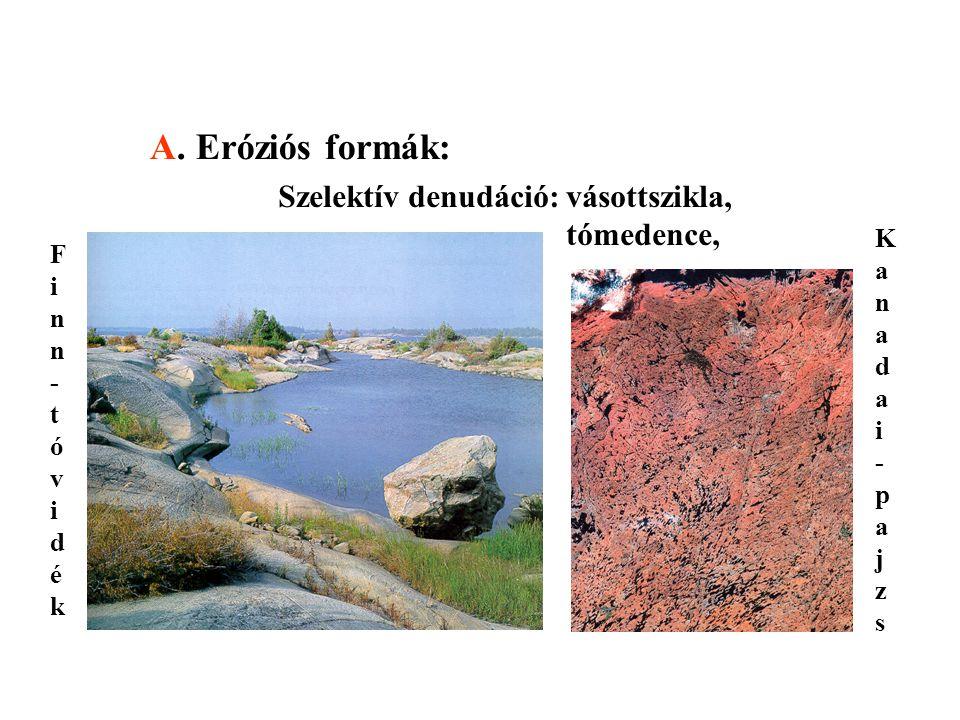 A. Eróziós formák: Szelektív denudáció:vásottszikla, tómedence, Finn-tóvidékFinn-tóvidék Kanadai-pajzsKanadai-pajzs