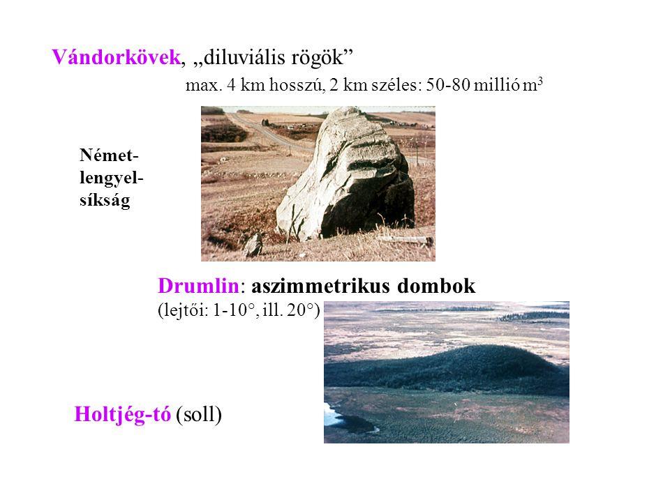 """Vándorkövek, """"diluviális rögök"""" max. 4 km hosszú, 2 km széles: 50-80 millió m 3 Német- lengyel- síkság Drumlin: aszimmetrikus dombok (lejtői: 1-10°, i"""