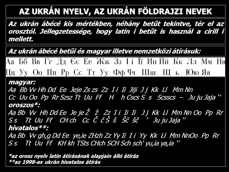 AZ UKRÁN NYELV, AZ UKRÁN FÖLDRAJZI NEVEK Az ukrán ábécé kis mértékben, néhány betűt tekintve, tér el az orosztól. Jellegzetessége, hogy latin i betűt