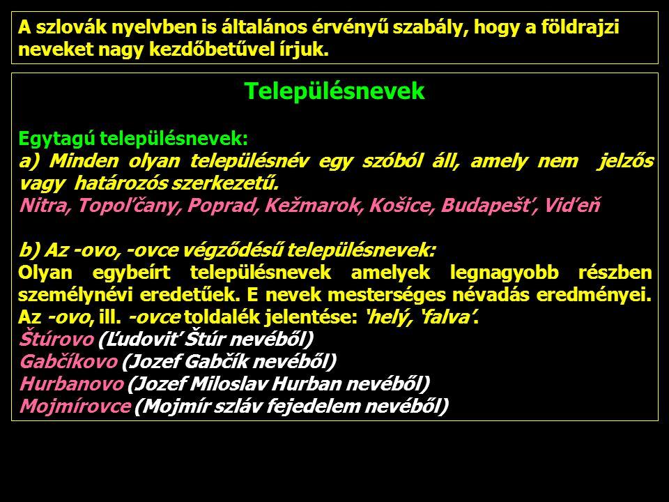 Településnevek Egytagú településnevek: a) Minden olyan településnév egy szóból áll, amely nem jelzős vagy határozós szerkezetű. Nitra, Topoľčany, Popr