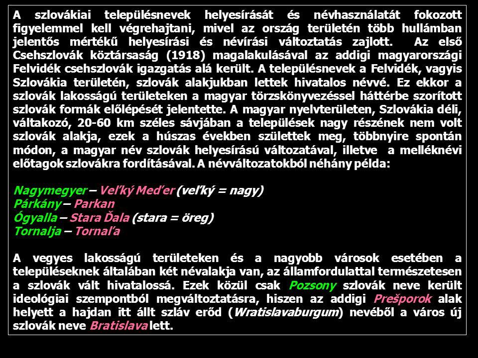 A szlovákiai településnevek helyesírását és névhasználatát fokozott figyelemmel kell végrehajtani, mivel az ország területén több hullámban jelentős mértékű helyesírási és névírási változtatás zajlott.