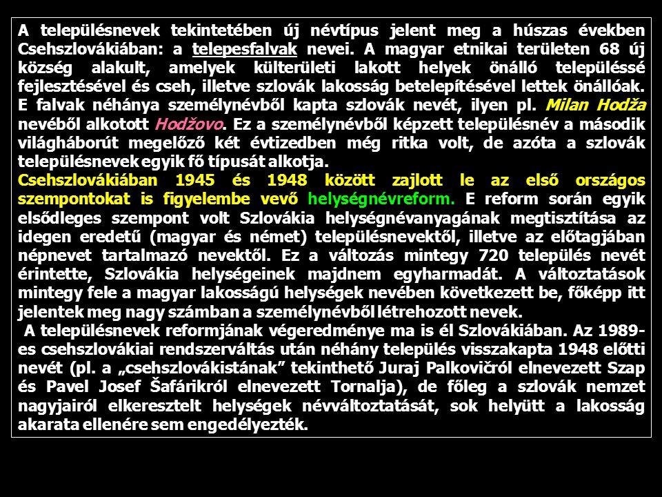 A településnevek tekintetében új névtípus jelent meg a húszas években Csehszlovákiában: a telepesfalvak nevei. A magyar etnikai területen 68 új község