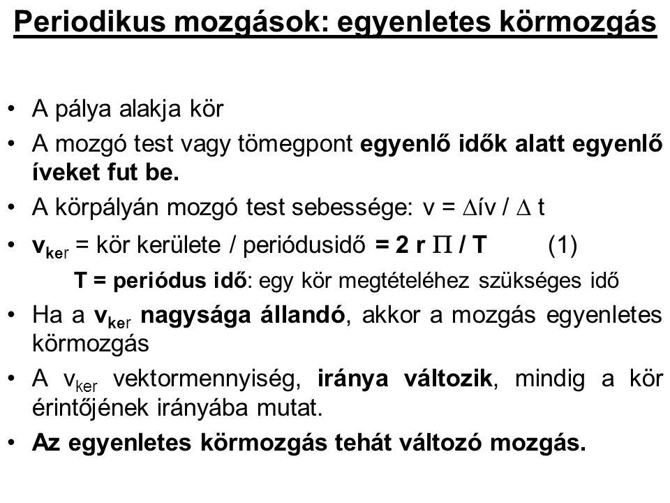 A haladó és a forgó mozgás összehasonlítása Haladó mozgás út: s sebesség: v = s/t gyorsulás: a =  v /  t oka: F (F ~ a F/a = áll) tömeg: m F = m a megmarad: I = m v (impulzus) Forgó mozgás elfordulás szöge  szögsebesség:  =   /  t szöggyorsulás:  =   /  t forgatónyomaték: M = F k ( M ~  M/  = áll) tehetetlenségi nyomaték:   =  m i r i 2 M =   N =   (perdület)