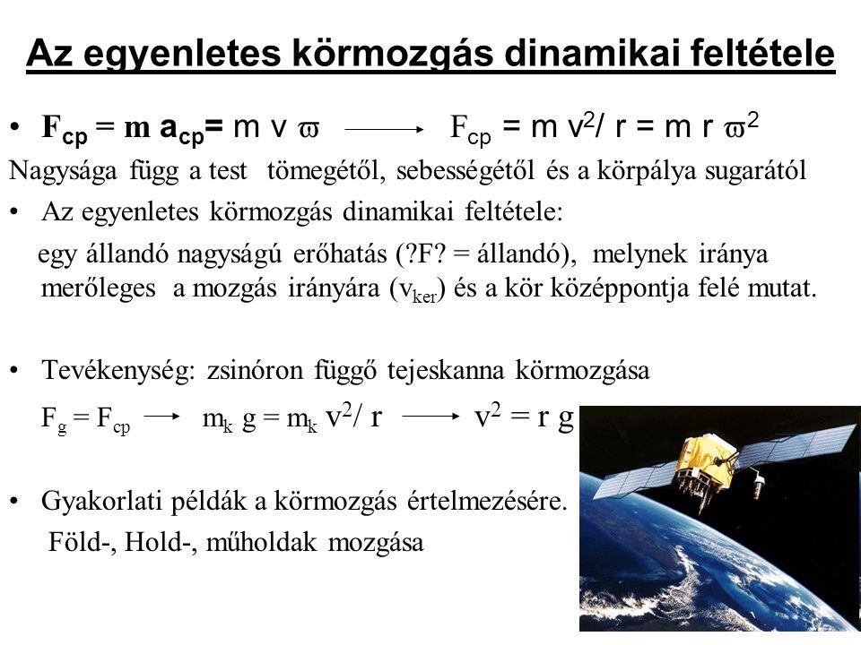 Az egyenletes körmozgás dinamikai feltétele F cp = m a cp = m v  F cp = m v 2 / r = m r  2 Nagysága függ a test tömegétől, sebességétől és a körpály