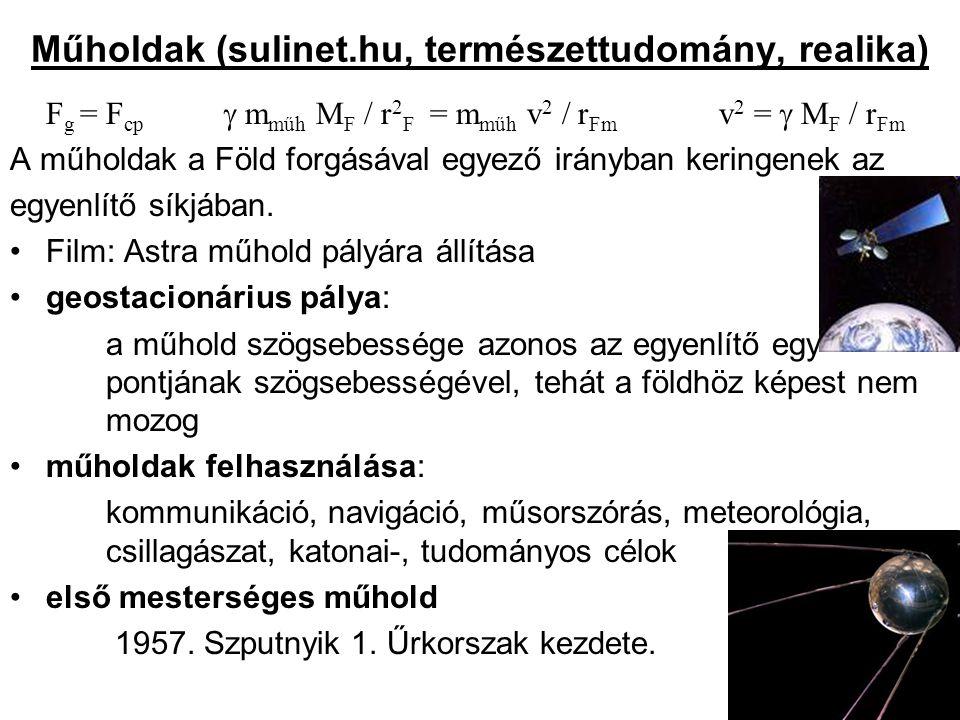 Műholdak (sulinet.hu, természettudomány, realika) F g = F cp  m műh M F / r 2 F = m műh v 2 / r Fm v 2 =  M F / r Fm A műholdak a Föld forgásával eg