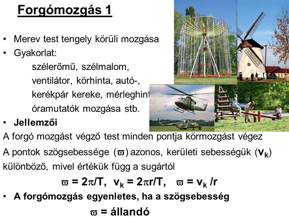 Forgómozgás 1 Merev test tengely körüli mozgása Gyakorlat: szélerőmű, szélmalom, ventilátor, körhinta, autó-, kerékpár kereke, mérleghinta, óramutatók