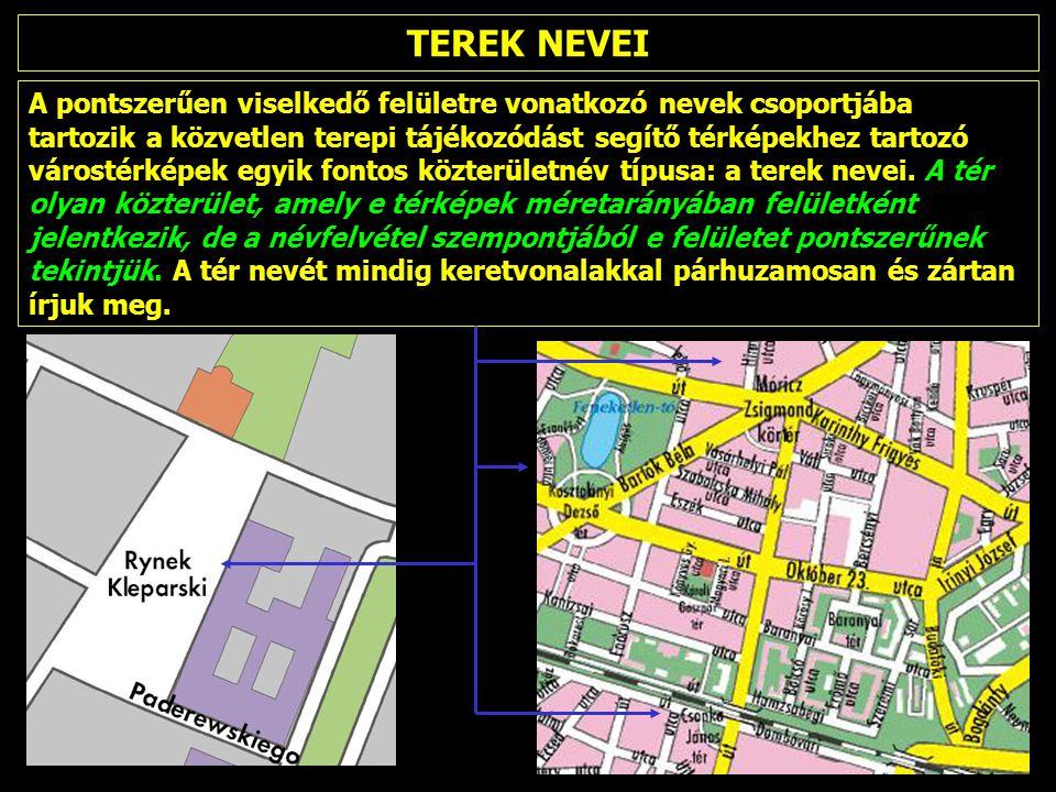 A pontszerűen viselkedő felületre vonatkozó nevek csoportjába tartozik a közvetlen terepi tájékozódást segítő térképekhez tartozó várostérképek egyik