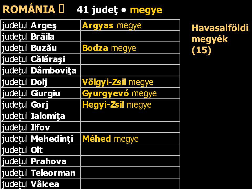 Havasalföldi megyék (15) ROMÁNIA ő 41 judeţ megye