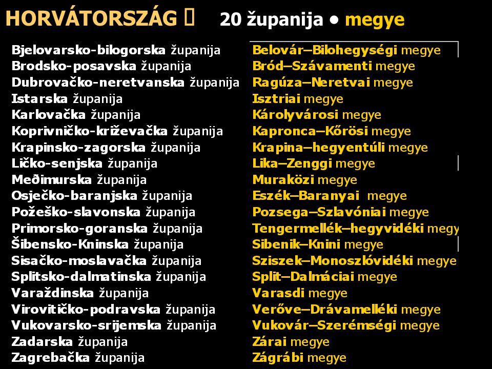 HORVÁTORSZÁG ő 20 županija megye