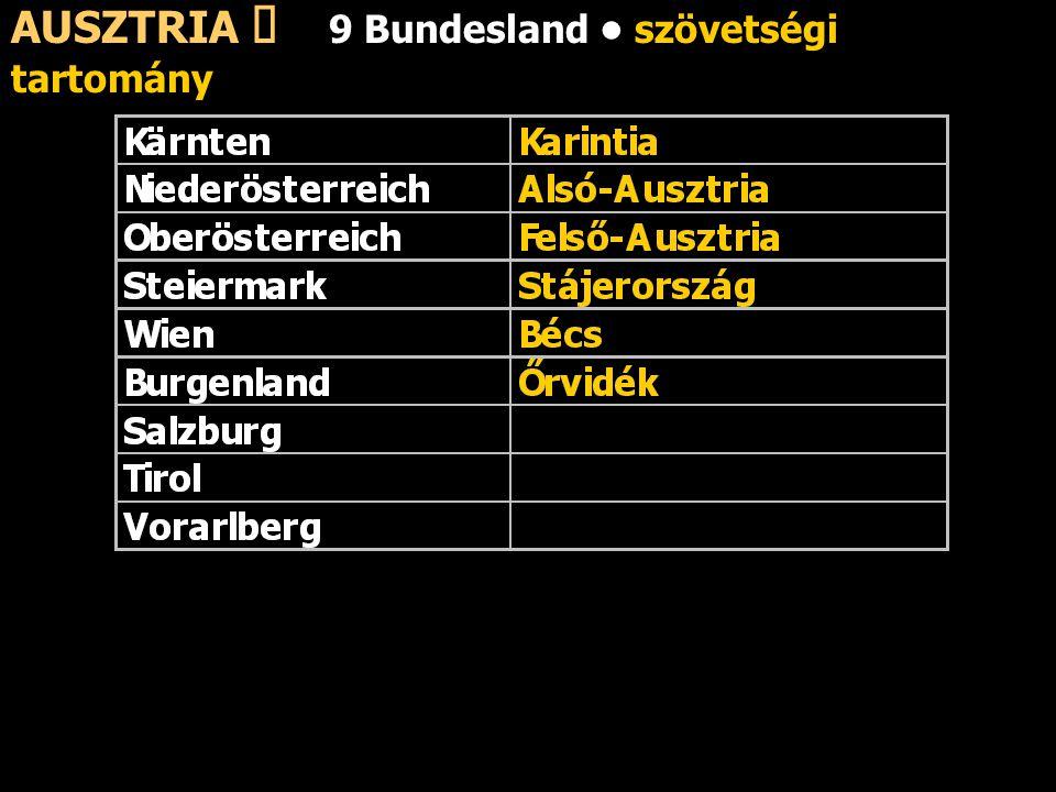 AUSZTRIA ő 9 Bundesland szövetségi tartomány