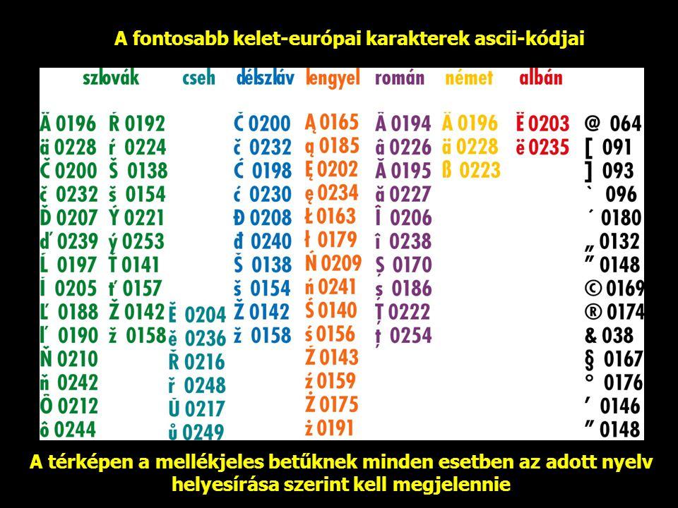A fontosabb kelet-európai karakterek ascii-kódjai A térképen a mellékjeles betűknek minden esetben az adott nyelv helyesírása szerint kell megjelennie