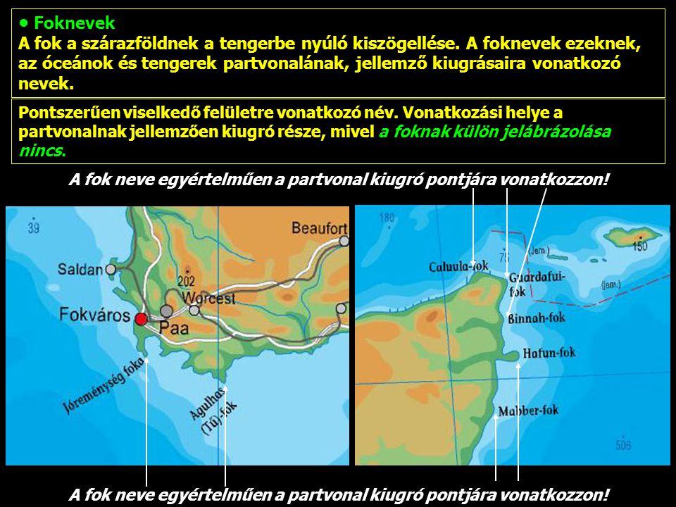 Magyar, illetve lefordított nevek: Ezek főleg égtájakat és viszonyítási elemeket tartalmazó nevek.
