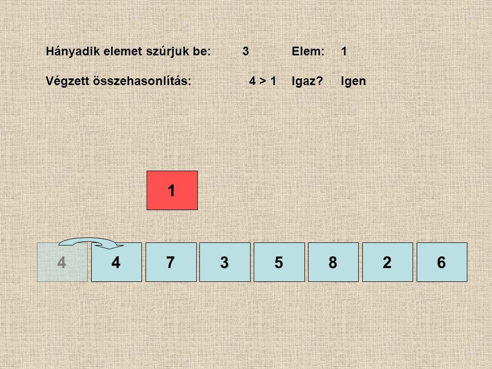 4435826 Hányadik elemet szúrjuk be:3Elem:1 Végzett összehasonlítás: 4 > 1Igaz?Igen 1 7