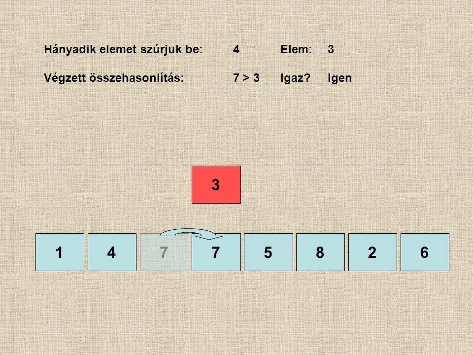 1475826 Hányadik elemet szúrjuk be:4Elem:3 Végzett összehasonlítás:7 > 3 Igaz?Igen 7 3
