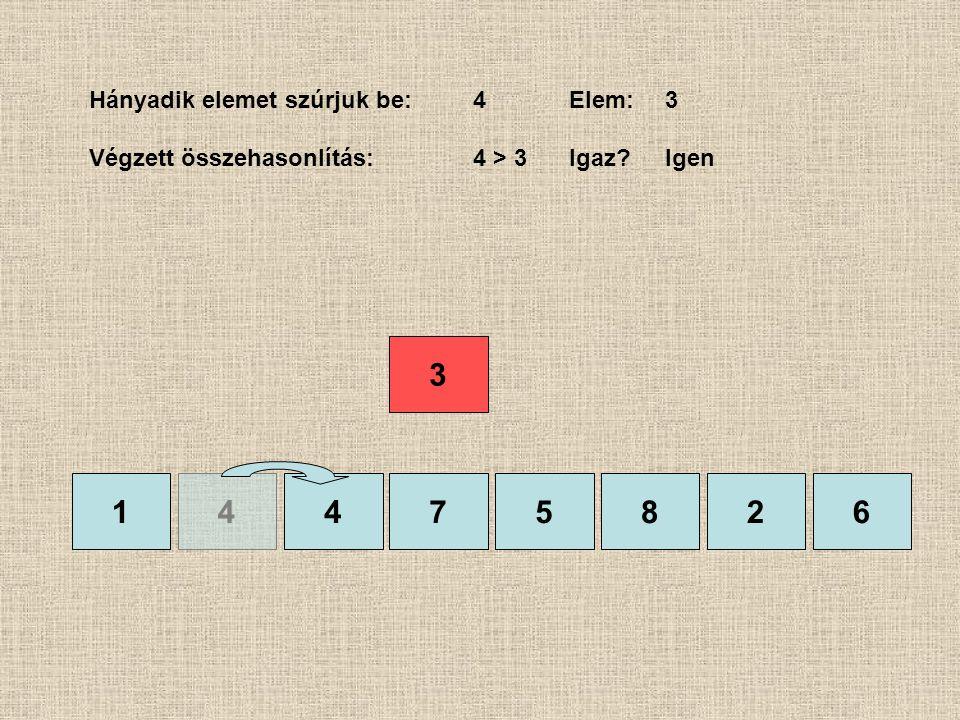 1475826 Hányadik elemet szúrjuk be:4Elem:3 Végzett összehasonlítás:4 > 3 Igaz?Igen 4 3