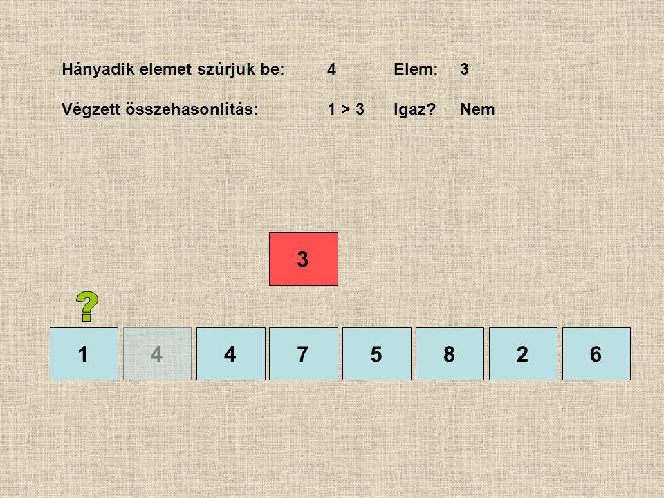1475826 Hányadik elemet szúrjuk be:4Elem:3 Végzett összehasonlítás:1 > 3 Igaz?Nem 4 3