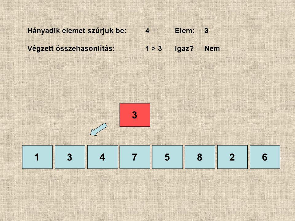 1375826 Hányadik elemet szúrjuk be:4Elem:3 Végzett összehasonlítás:1 > 3 Igaz?Nem 4 3