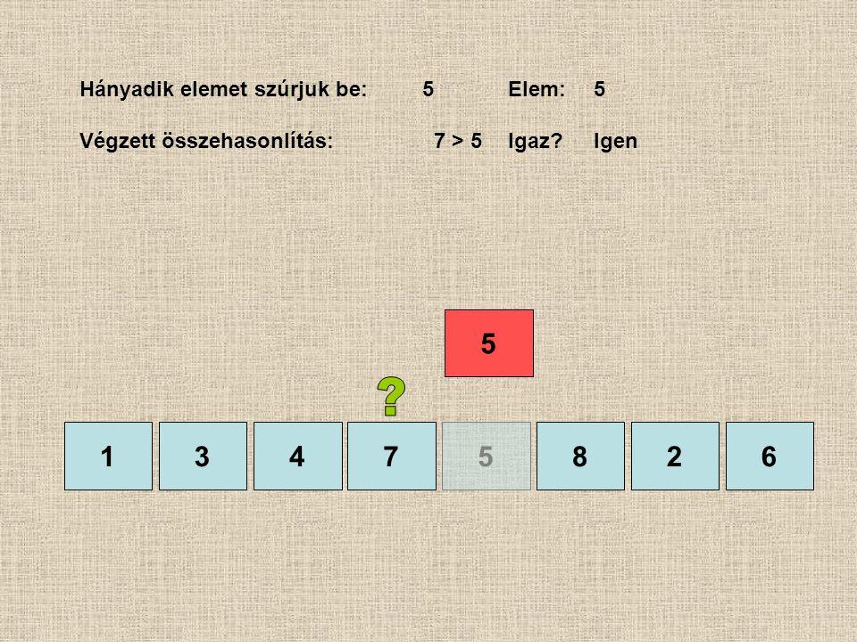 1375826 Hányadik elemet szúrjuk be:5Elem:5 Végzett összehasonlítás: 7 > 5Igaz?Igen 4 5
