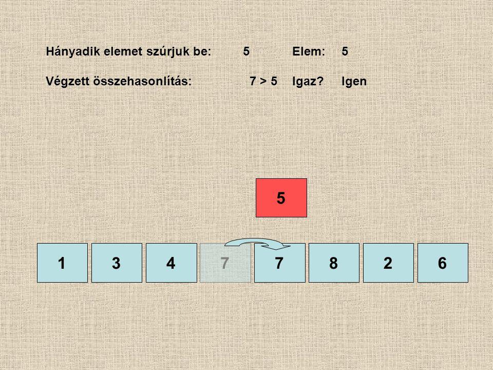 1377826 Hányadik elemet szúrjuk be:5Elem:5 Végzett összehasonlítás: 7 > 5Igaz?Igen 4 5