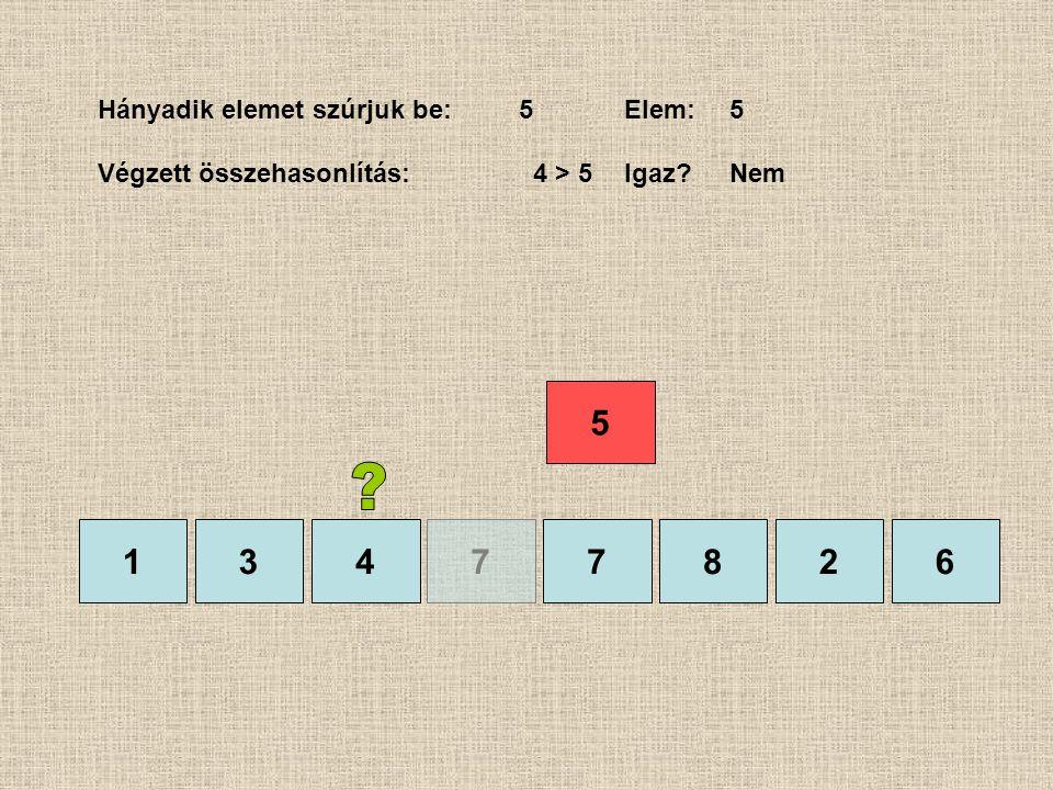 1377826 Hányadik elemet szúrjuk be:5Elem:5 Végzett összehasonlítás: 4 > 5Igaz?Nem 4 5