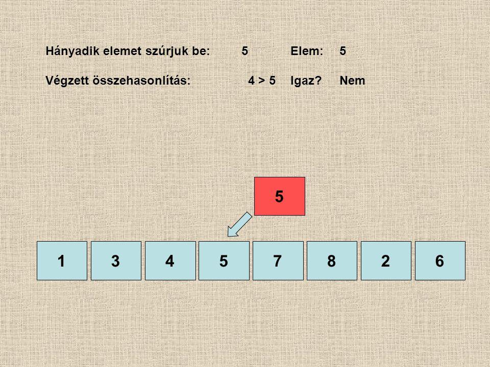 1357826 Hányadik elemet szúrjuk be:5Elem:5 Végzett összehasonlítás: 4 > 5Igaz?Nem 4 5