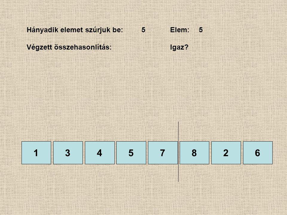1357826 Hányadik elemet szúrjuk be:5Elem:5 Végzett összehasonlítás: Igaz? 4