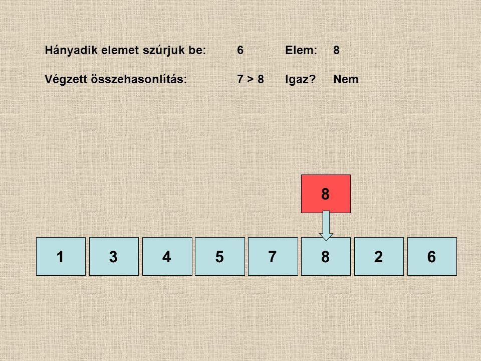 1357826 Hányadik elemet szúrjuk be:6Elem:8 Végzett összehasonlítás:7 > 8 Igaz?Nem 4 8