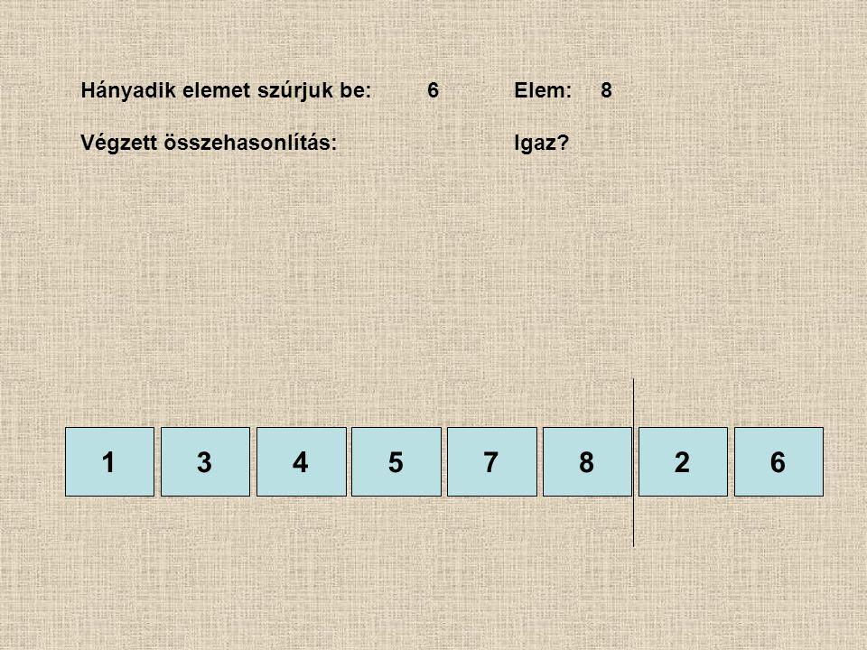 1357826 Hányadik elemet szúrjuk be:6Elem:8 Végzett összehasonlítás: Igaz? 4