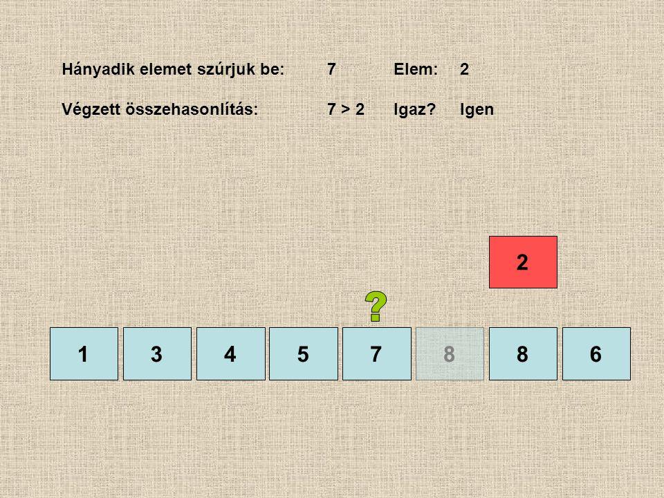 1357886 Hányadik elemet szúrjuk be:7Elem:2 Végzett összehasonlítás:7 > 2Igaz?Igen 4 2