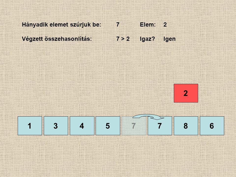 1357786 Hányadik elemet szúrjuk be:7Elem:2 Végzett összehasonlítás:7 > 2Igaz?Igen 4 2
